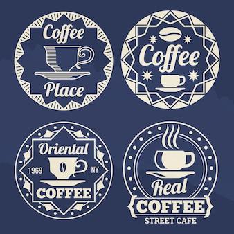 Etichette di caffè alla moda per caffè, negozio, mercato
