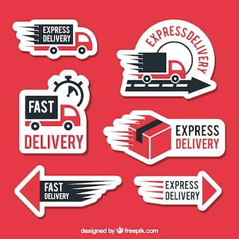 Etichette di consegna moderne con design piatto