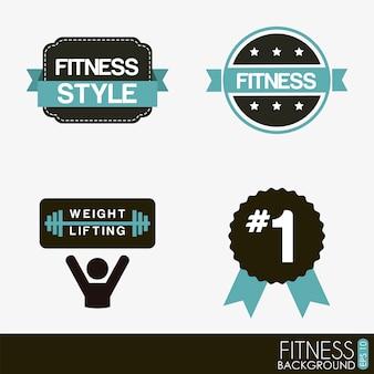 Etichette di fitness sopra illustrazione vettoriale sfondo bianco