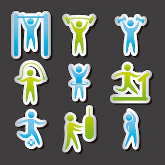 Etichette di fitness sopra illustrazione vettoriale sfondo grigio