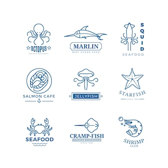 Etichette di frutti di mare linea sottile loghi vettoriali, emblemi