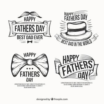 Etichette di giorno di padri disegnati a mano