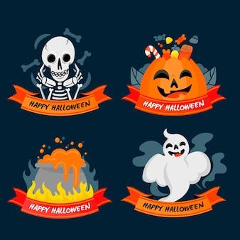 Etichette di halloween design piatto