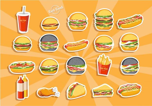 Etichette di hamburger fast food