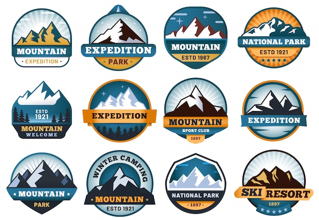 Etichette di montagna. emblemi escursionistici, badge emblema montagne e set di etichette viaggio collina all'aperto