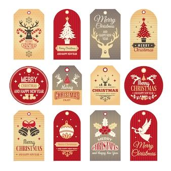 Etichette di natale. etichette e distintivi di festa con gli elementi divertenti del nuovo anno di inverno e le illustrazioni della neve