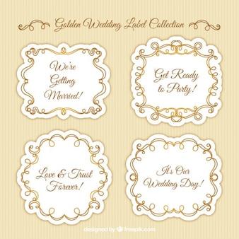 Etichette di nozze ornamentali con dettagli dorati