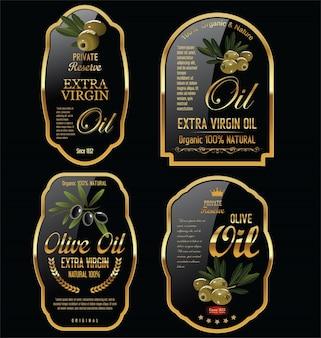 Etichette di olio d'oliva ed elementi di design