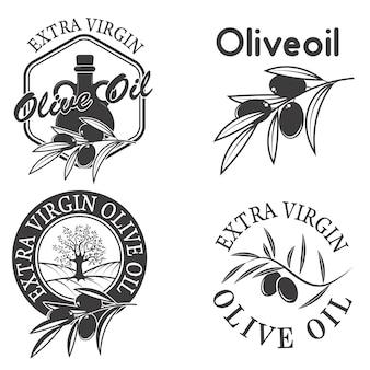 Etichette di olio extra vergine di oliva.