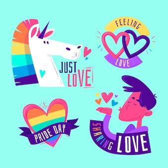 Etichette di personaggi colorati pride day