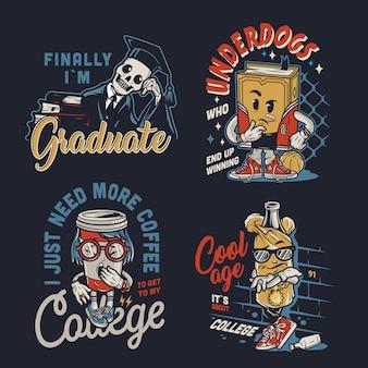 Etichette di personaggi divertenti college vintage