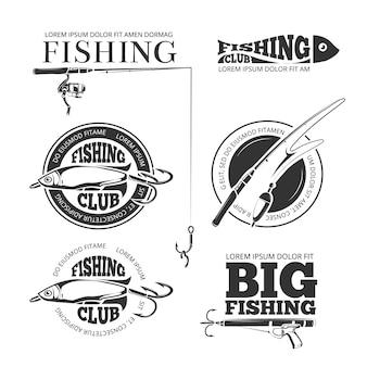 Etichette di pesca d'epoca vettoriale
