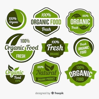 Etichette di prodotti biologici con foglie pack