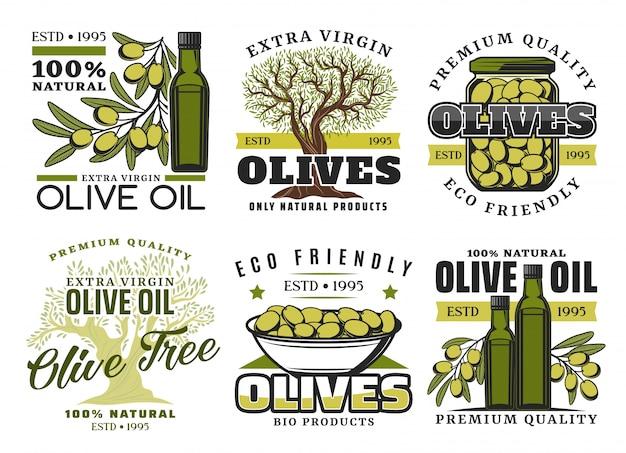 Etichette di prodotti di olio d'oliva e verdure