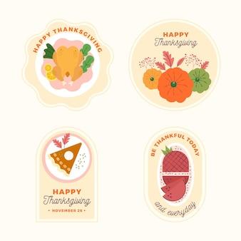 Etichette di ringraziamento design piatto