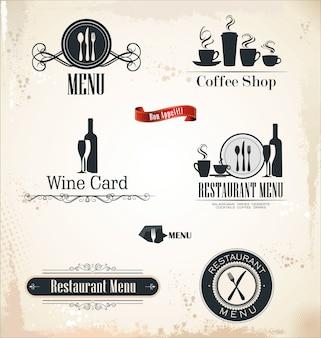 Etichette di ristoranti e bar