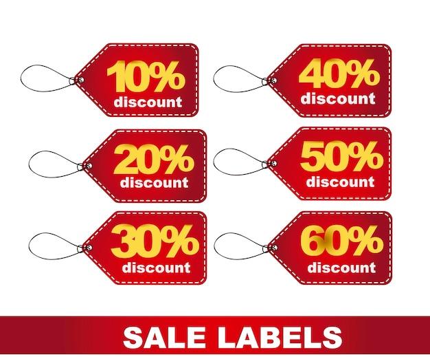 Etichette di sconto rosso su sfondo bianco illustrazione vettoriale
