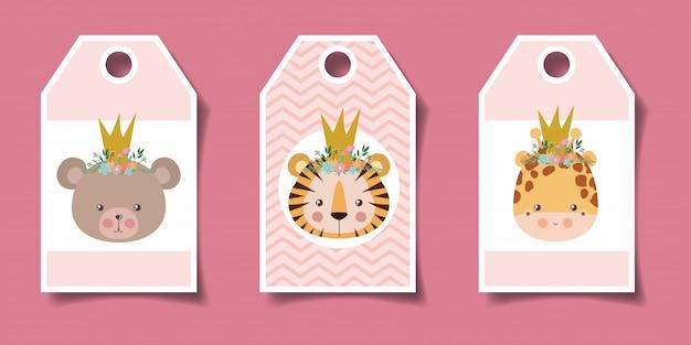 Etichette di simpatici animali