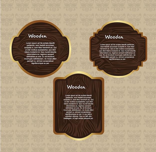 Etichette di struttura in legno sopra beige ornamento sfondo vettoriale
