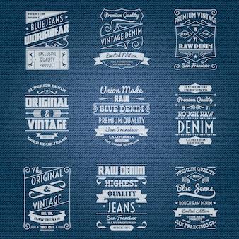 Etichette di tipografia jeans denim bianco