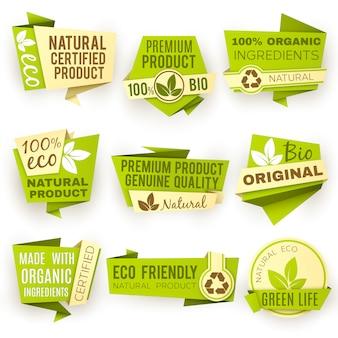 Etichette di vettore di prodotto sano fattoria biologica sana. distintivi ed etichette alimentari vegani verdi. emblema di adesivo bio verde per l'illustrazione di cibo eco