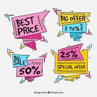 Etichette disegnate a mano di grande vendita con stile di memphis