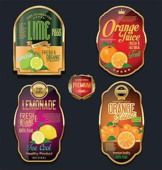 Etichette dorate per prodotti a base di frutta biologica