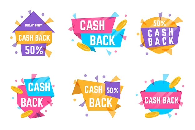 Etichette e badge cashback con colori pastello