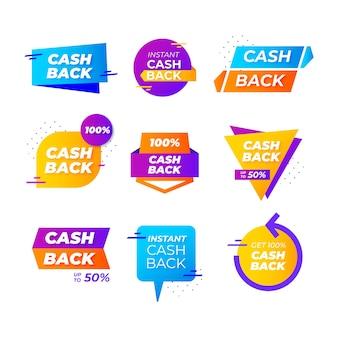 Etichette e badge cashback con forme geometriche