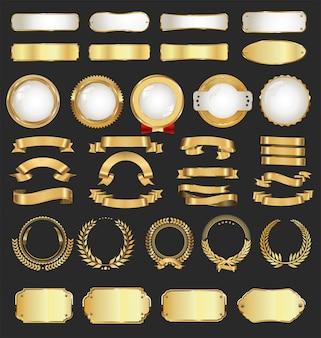 Etichette e distintivi dorati di lusso