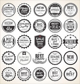 Etichette e distintivi vintage retrò