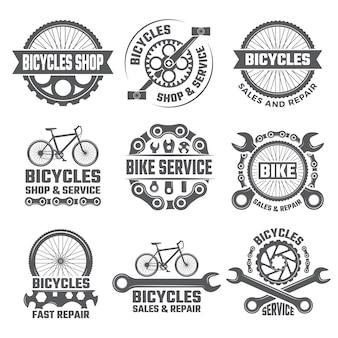 Etichette e loghi sportivi con parti di biciclette