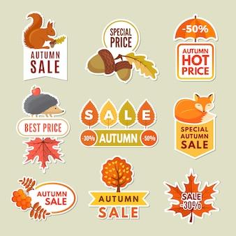Etichette e stemmi dell'autunno. sconto adesivi di grandi vendite autunnali con volpe, ghianda riccio e sorbo. foglie di arancio e giallo