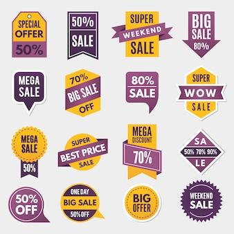 Etichette e tag con informazioni pubblicitarie per promozione e grandi vendite