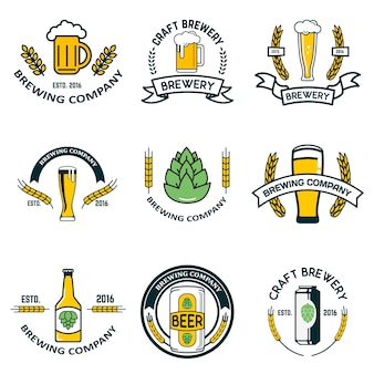 Etichette ed elementi del birrificio
