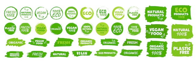 Etichette ed emblemi alimenti biologici, naturali, sani, freschi e vegetariani