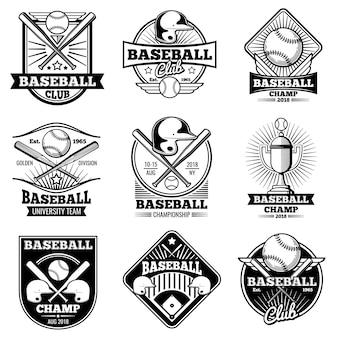 Etichette ed emblemi di vettore di baseball dell'annata