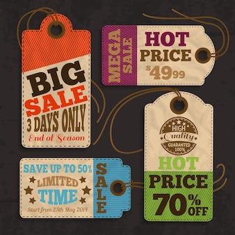 Etichette ed etichette di acquisto per la migliore offerta di prezzi o illustrazione vettoriale della raccolta di promozioni di vendita speciale