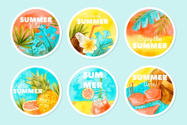 Etichette estive ad acquerello