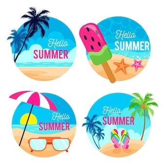 Etichette estive design piatto
