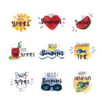 Etichette estive di acquerello