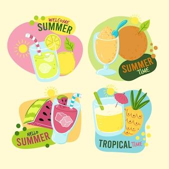 Etichette estive disegnate a mano