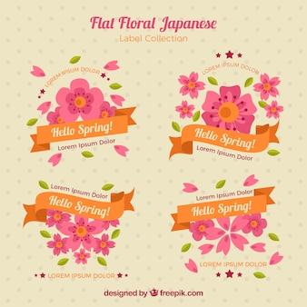 Etichette floreali con nastri in design piatto
