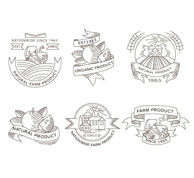 Etichette fresche di fattoria retrò, distintivi ed elementi di design