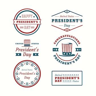 Etichette geometriche per la raccolta del giorno del presidente