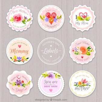 Etichette giorno acquerello arrotondato della madre