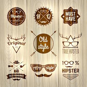 Etichette hipster in legno