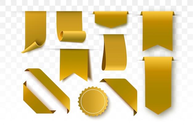 Etichette in bianco e nastri dell'oro isolati. banner vettoriali, badge ed etichette.