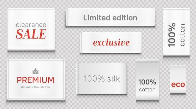 Etichette in tessuto per abbigliamento, etichette bianche di marca premium