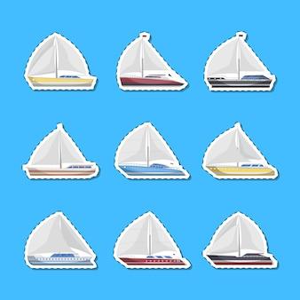 Etichette isolate vista laterale delle barche a vela del mare